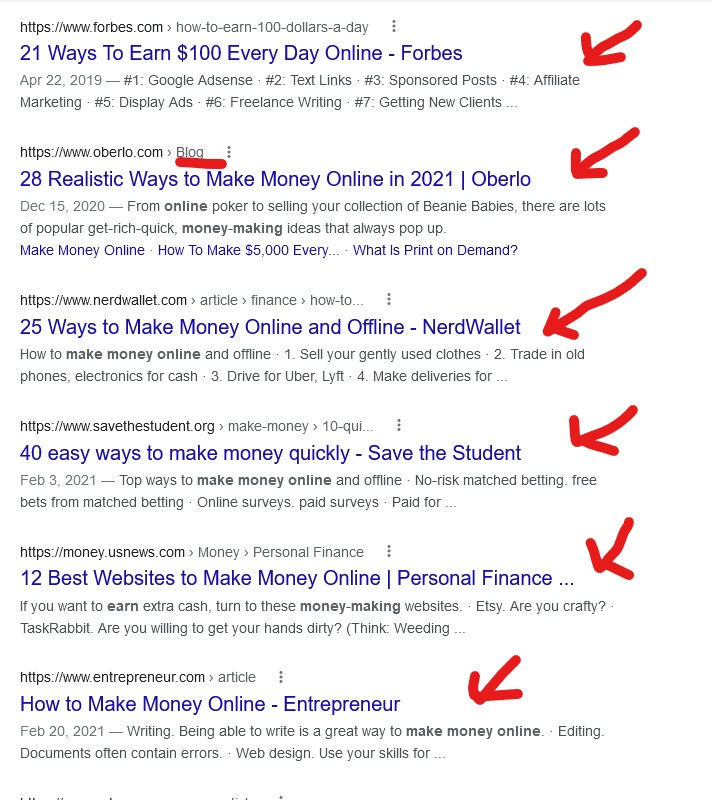 how do you make money online search results